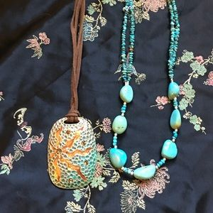 Hand beaded turquoise and BoHo necklace
